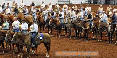 Ranch rodeo grand entry with a prayer.